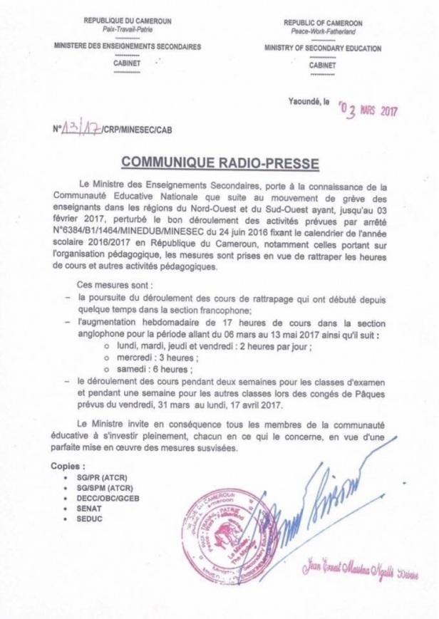 Communiqué Radio-Presse