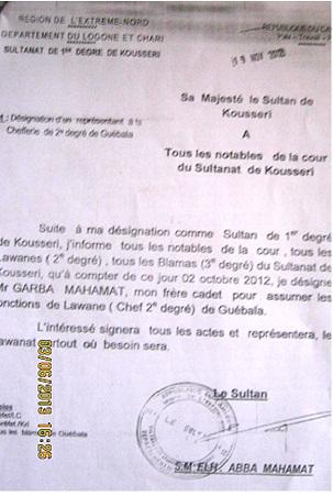 Lettre + Sultan Kousseri